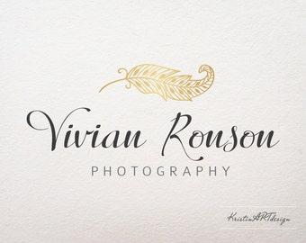 Feather logo, Gold feather logo, Gold logo, Photography logo, Boho chic logo, Premade logo, Watermark 203