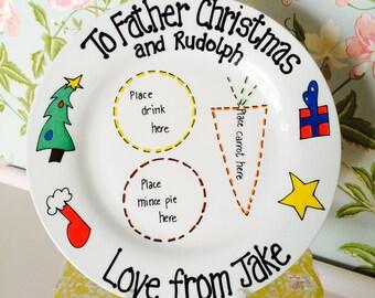 Christmas Eve treats plate for Santa/Father Christmas and Rudolph on Christmas Eve - XMAS Design