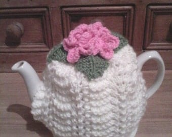 Shabby chic/vintage style hand knitted lace & roses tea cosy
