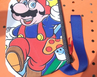 Mario Wristlet   Super Mario Bros   Upcycled  Nintendo Treasure
