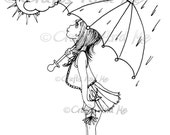 Digital Stamp - Instant Download - April Shower - Fantasy Line Art for Cards & Crafts by Exclusive Artist Robin Pushay for Crafts and Me