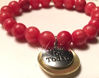 "beaded bracelet tangerine 8mm with ""live for today"" charm"