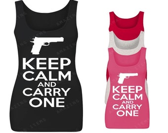 Keep Calm And Carry One Women's Tank Top Funny Tank Tops