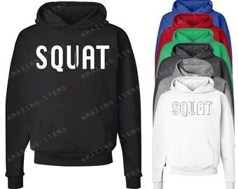 Squat Hoodie Funny Gym Hooded Sweatshirts