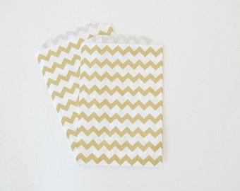 Gold Chevron Favor Bags // Gold Favor Bags // Gold Chevron treat Bags 7.5x5 (Set of 25)