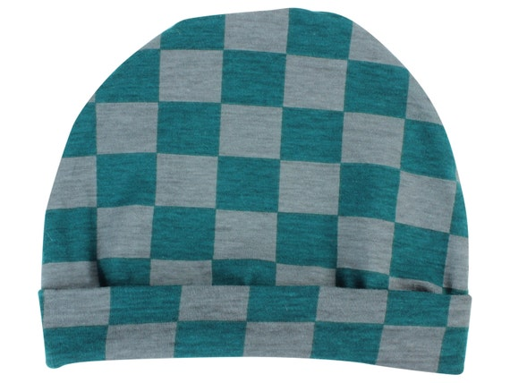 Teal Gray Jersey Knit Boy Baby Beanie Hat Unisex Baby Beanie Baby Leggings Baby Newborn Beanie Toddler Beanie Slouch Beanie Fitted Baby Gift
