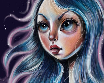 The Starry Sky Art Print 8 x 11 Pretty Big eyed Girl Pop Surrealism Illustration Lowbrow