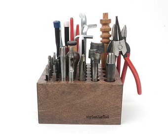 Hardwood Tool Rack, leathercrafting stamping,Wooden Design tool Organizer for your design stamps,Leather Craft Tool -LTCMLT-320