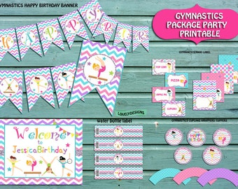 Gymnastic Party Package Personalized Invitation Included, Gymnastic Birthday Party,Gymnastic Party Supplies,Banner,sign  PRINTABLE DIY