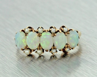1890s Antique Victorian 10k Solid Gold Opal and Seed Pearl Band Ring Size 5.0