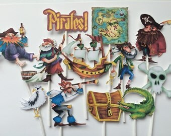 Pirates cupcake toppers, 12 pirates toppers, kids pirate birthday party, cupcake toppers pirate ship, toppers pirates, pirates