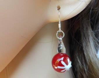 Red Christmas earrings. Glass lampwork Christmas baubles with sterling silver ear wires