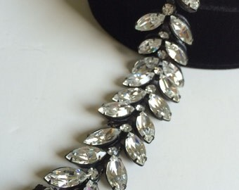 Radiant Vintage Miriam Haskell Bracelet~Clear Crystal Rhinestones/Black Japanned Metal~Signed