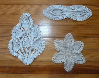 Crochet Ecru Doiles Set of 3