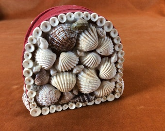 CLEARANCE Set of vintage coasters in a seashell covered holder