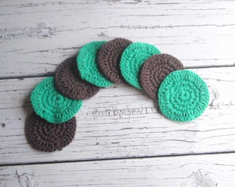 Face scrubbies, makeup remover pads, cotton face scrubbies, crochet face scrubbie, reusable, cotton rounds, face scrubby, set of 8, spa