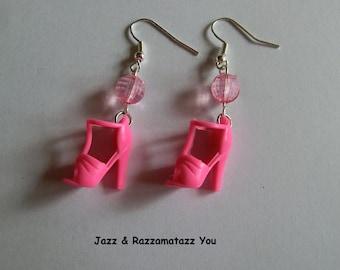 Handcrafted Pink Barbie Shoe Earrings