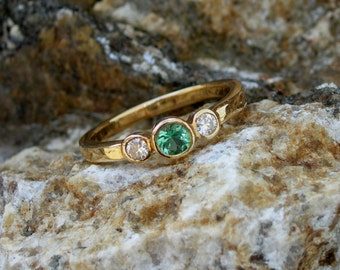 Maine tourmaline, diamond ring, bezel set, low profile, great for everyday wear, yellow gold, white gold, original design, custom, green