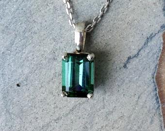 Maine Tourmaline, sterling silver, pendant,necklace, blue-green tourmaline, silver, prong set, elegant, emerald cut, genuine gemstone