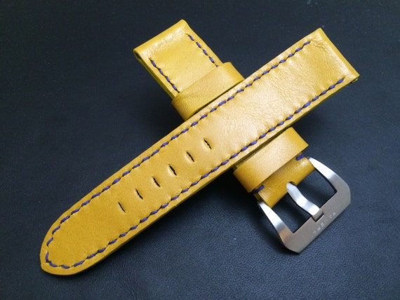 Leather watch strap in Yellow colour for Panerai Watch | 24mm leather watch strap | Leather watch Band | 24mm strap for Luxury watch