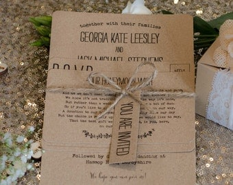 1 Rustic/Vintage/Shabby Chic 'Georgia' manila kraft wedding invitation sample