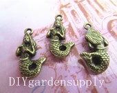 lead and nickel free--- 12x23mm antiqued bronze Mermaid charms findings connectors--perfect for making bracelets