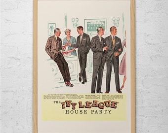 IVY LEAGUE FASHION Ad - Retro Mad Men Ad - Mid-Century Poster Mad Men Party Poster Retro Fashion Poster Retro Kitsch Vintage Ad Wall Art