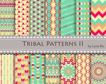 """50% OFF Tribal Digital Paper: """" Tribal Patterns"""" include triangles, chevron, arrows and aztec pattern, tribal designs, patterned papers"""