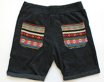 Aztec bohemian Black Sweat Short Pants Boho Chic Men Hipster Drawstring Elastic Waist Yoga Shorts Pants Jogging Native Indian Gypsy