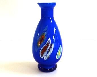 Cobalt Blue Bud Vase, Murano Style Bud Vase, Millefiori Glass, Bud Vase, Table Decor