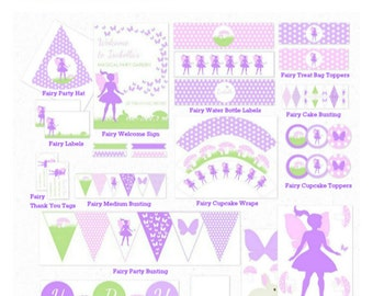FAIRY PARTY DECORATIONS, Printable, Personalized, Birthday Party, diy, Garden Party, Fairies, Digital file, Purple, Lavender, Green, Pink