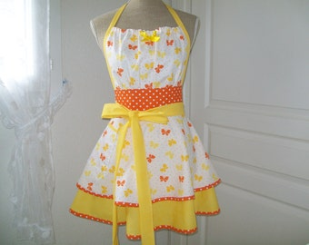 """Apron retro """"Butterflies"""" chic and elegant for women"""