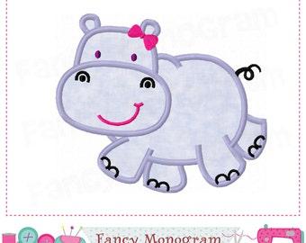 Hippo applique,Hippo embroidery,Hippo design,Beach design,Hippo,Summer applique,Seaside,Hippo,Animal applique,Girl applique-01
