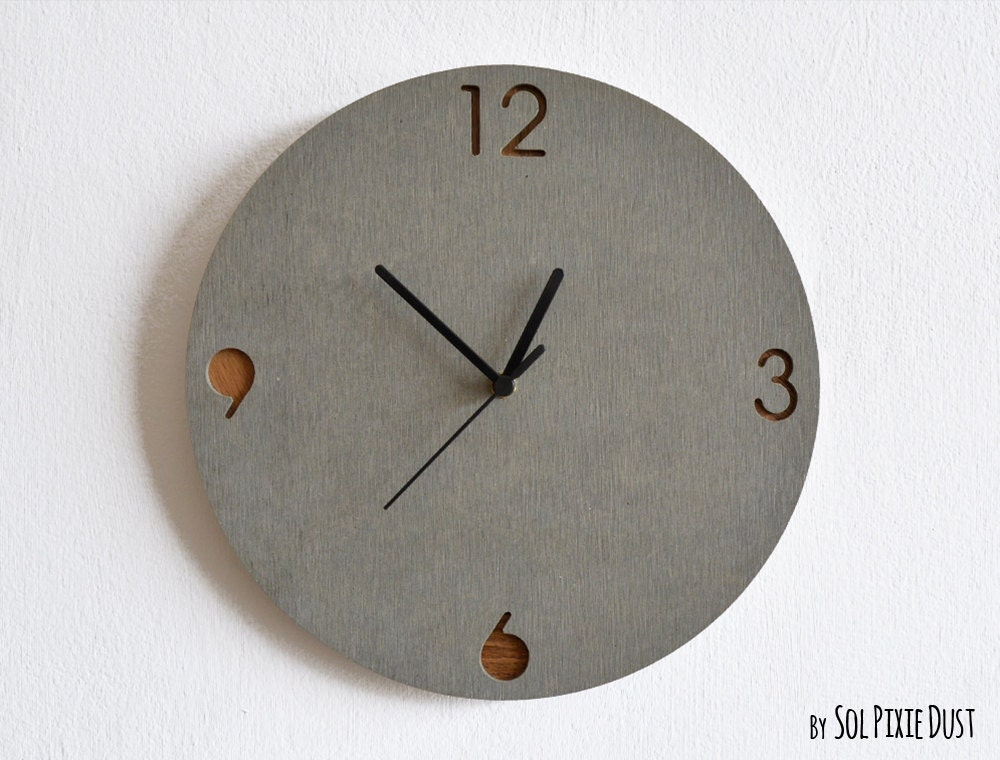 concrete and wood circle wall clock modern wall clock. Black Bedroom Furniture Sets. Home Design Ideas