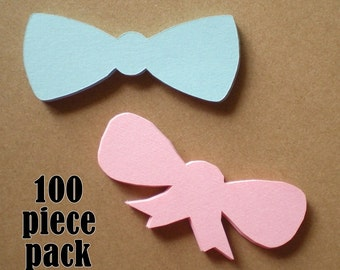 100 Bow and Bow Tie cut outs, 3 inch, Gender Reveal Party Decor