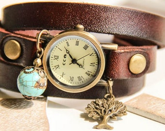 Woman Bracelet Watch, Wrap Watch, bronze wrist watch, tree of live, blue, genuine leather, bead watch, real leather, vintage antique watch