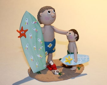 Polymer Clay Surfing Boy and Dad Figurine, Handmade, Clay Figurine good for Decoration, Personalized Gift, Cake Topper, Cake Decoration,