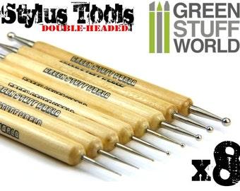 Professional Metal BALL STYLUS tool - 8pcs - Sculpting Burnisher Tools