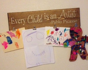 Every child is an artist art display board, Pablo Picasso phrase, Childrens brag board display for the wall, Perfect for preschool-classroom
