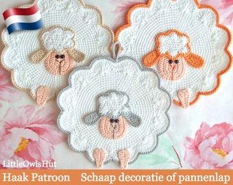 053NLY Schaap decoratie of pannenlap - Amigurumi Haakpatroon - PDF by Zabelina Etsy