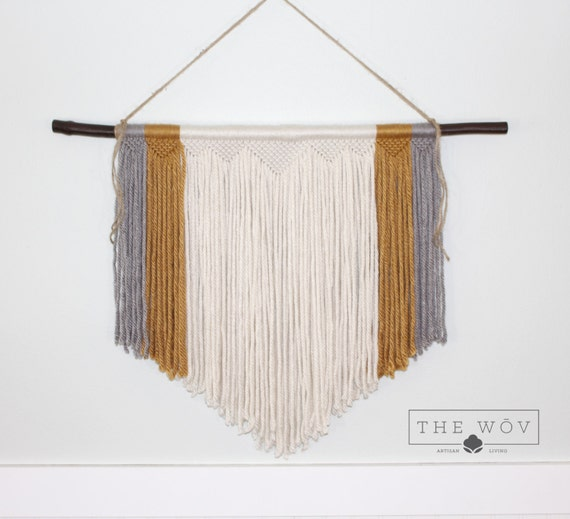 Light Grey And Gold Handmade Macrame Wall Hanging By Thewov