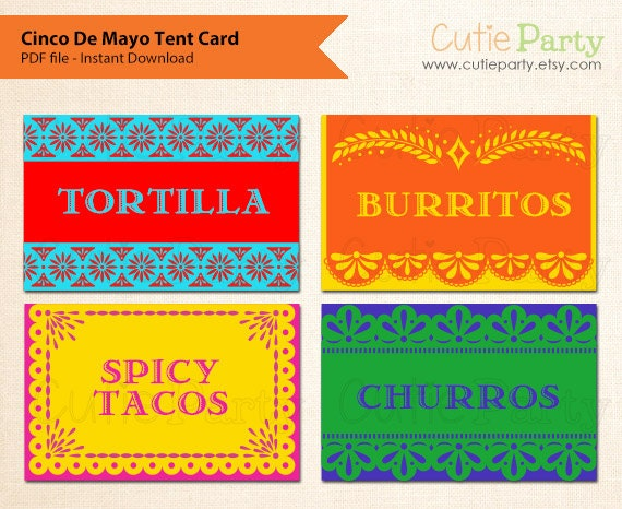 Cinco De Mayo Editable Party Printable Cinco De Mayo Tent Card Mexican food tags gift tags favor tags table place cards  sc 1 st  Etsy & Cinco De Mayo Editable Party Printable Cinco De Mayo Tent