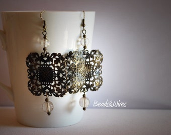 Square filigree earring