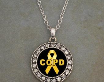 COPD Awareness Ribbon Rhinestone Necklace