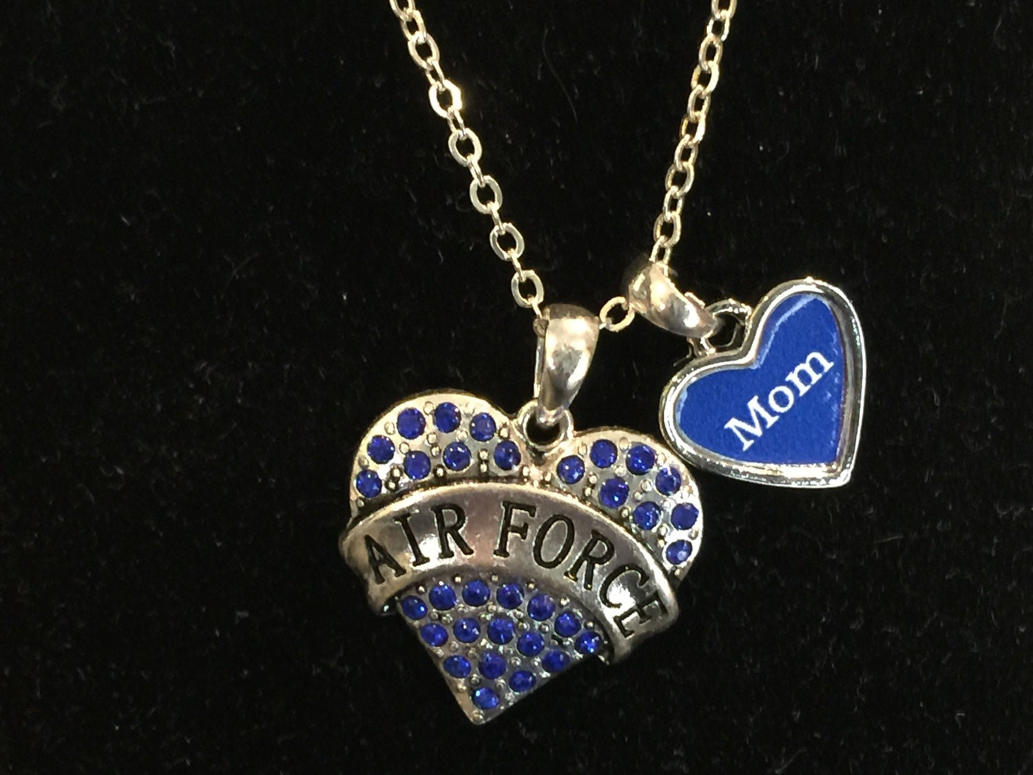 air force mom rhinestone heart necklace