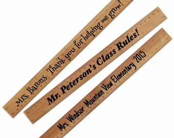 """Engraved Personalized 12"""" Bamboo Ruler Teacher School End of Year Gift Thank You Teacher Appreciation"""