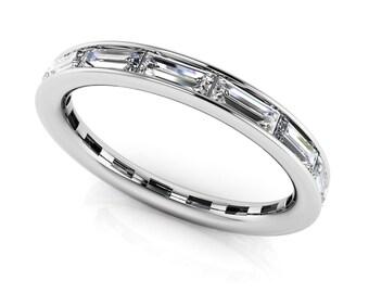14k Gold Baguette Eternity Diamond Ring