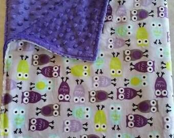 Purple Owl Double Sided Minky Blanket