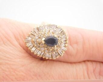2.40 Carat T.G.W. Pear Cut Sapphire & Baguette Diamond Ring Yellow Gold 14K