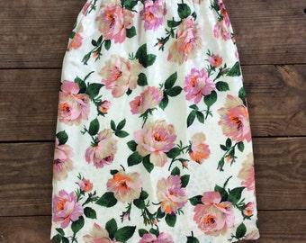 Vintage Silk Pink Rose Print A-line Skirt / Made by Albert Nipon / 1980s